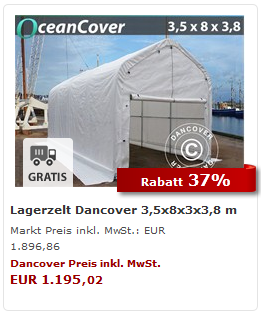 Lagerzelt OceanCover 3,5 x 8 x 3 x 3,8 m weiss